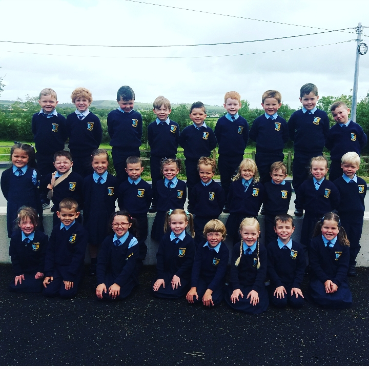 Junior Infants on their first day in Carrig School 2020!